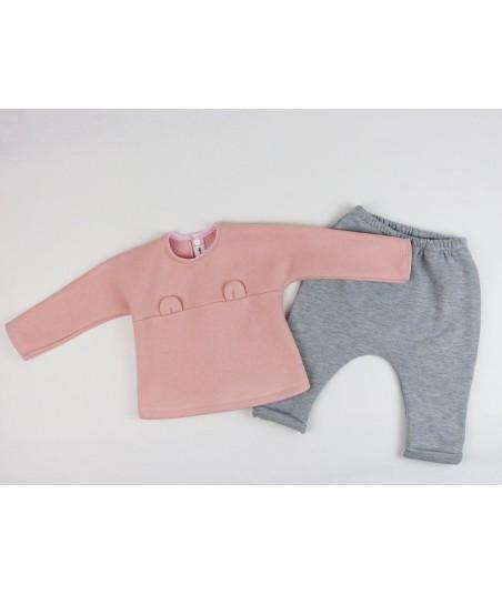 Le sweat bébé ourson rose